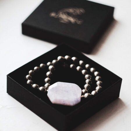 Bracelet Pyrite and Kunzite