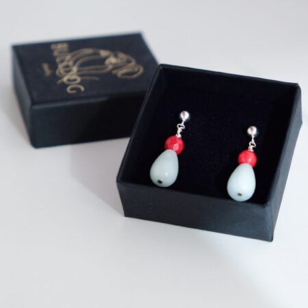 Earrings Coral and Amazonite